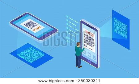 Qr Code Verification. Isometric Barcode Mobile Scanning, Customer Makes Paying With Phone Scanner. I