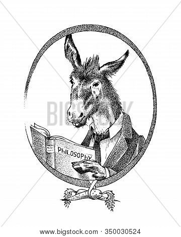 Donkey Philosopher Character Or Goat Thinker. Hand Drawn Animal Person Portrait. Engraved Monochrome