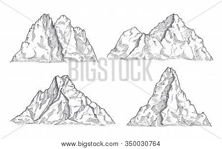 Mountains Sketch. Art Drawing Mountain, Engraved Panorama Silhouette. Vintage Wildlife Landscape, Ro