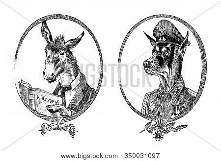 Animal Character. Donkey Philosopher Or Goat And Military Dog Or Dobermann. Hand Drawn Portrait. Eng