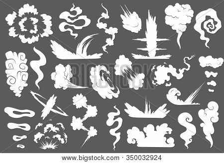 Explosion With Smoke Cloud. Fog Flat Isolated Clipart For Advertising Posters, Effects And Design. C