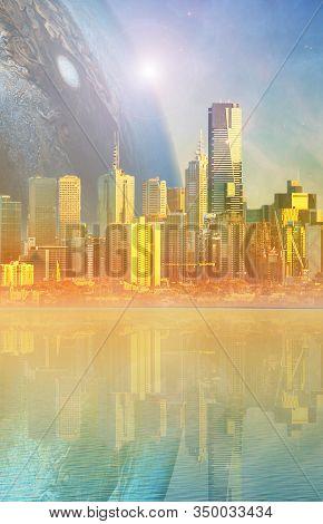 Science Fiction Novel Book Cover Template - Modern Megapolis Skyline And Huge Alien Planet Reflectin