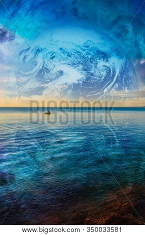 Fiction Book Cover Template - Lonely Fishing Boat Floating On Tranquil Ocean Water With Planet And G
