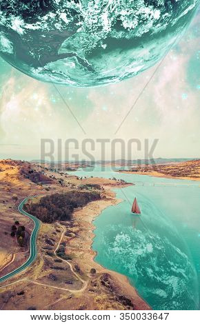 Beautiful Fiction Book Cover Design. Unreal Fantasy Landscape Of Sailboat Sailing Across A River On
