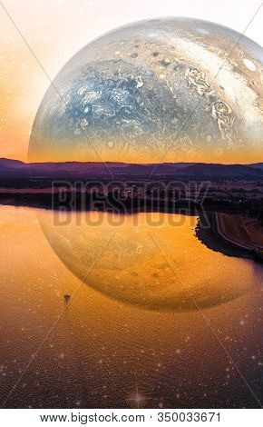 Fantasy Landscape Of Lonely Boat Sailing Across Scenic Lake On Alien Planet. Book Cover Design Templ