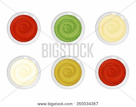 Set Of Sauces On White Background. Cartoon Style. Vector Illustration. Isolated On White. Object For