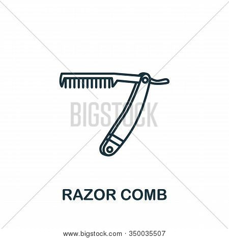 Razor Comb Icon From Barber Shop Collection. Simple Line Element Razor Comb Symbol For Templates, We