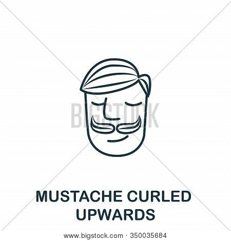 Mustache Curled Upwards Icon From Barber Shop Collection. Simple Line Element Mustache Curled Upward