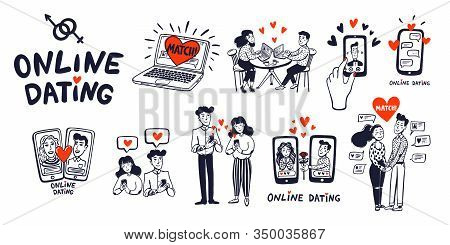 Online Dating Big Set. Dating Couples, Mobile App, Notebook, Young Man And Woman Searching For Love