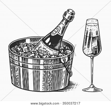 Sparkling Wine Champagne Or Bubbly Or Fizz. Alcoholic Carbonated Drink, Glass Wineglass And Bottle A