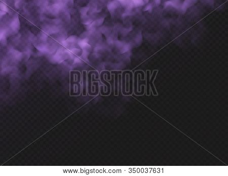 Purple Fog Or Smoke Cloud Isolated On Transparent Background. Realistic Violet Smog, Haze, Mist Or C