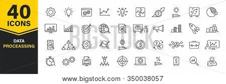 Set Of 40 Data Proceassing Web Icons In Line Style. Graphic, Analytics, Statistic, Network, Diagrams