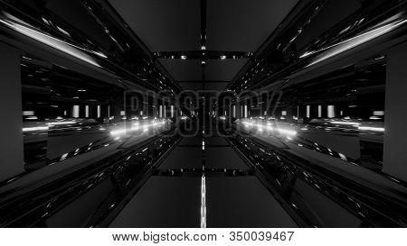 3d Illustration Background Wallpaper With Futuristic Scifi Tunnel Hangar Corridor Graphic Artwork