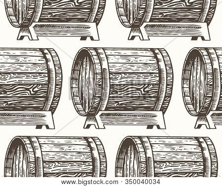 Wooden Oak Barrels Of Aged Wine Or Beer. Seamless Pattern. Vessels And Kegs With Alcohol Brandy Or W