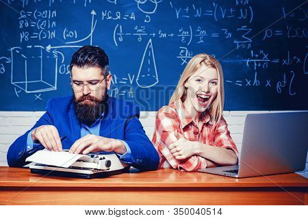 Teacher Teaches A Student. Students Campus Education Knowledge Concept. School Day. Students Prepari