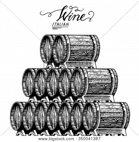 Wooden Oak Barrels Of Aged Wine. Pyramidal Pile Of Vessels And Kegs With French Alcohol Brandy Or Wh