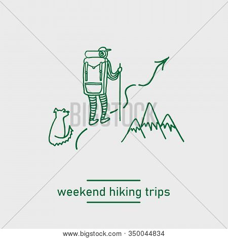 Backpacking Hiking Man With A Dog Doodle Vector Illustration