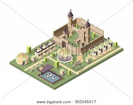 Amusment Park. Isometric Attractions With Medieval Castle Circus Ferris Wheel And Roller Coaster Vec