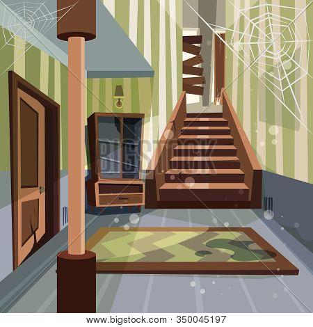 Abandoned House. Broken Interior Room Indoor Nobody Empty Home Abandoned Building Vector Cartoon Bac