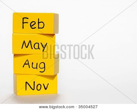 Yellow Season's blocks: Feb, May, Aug and Nov. poster