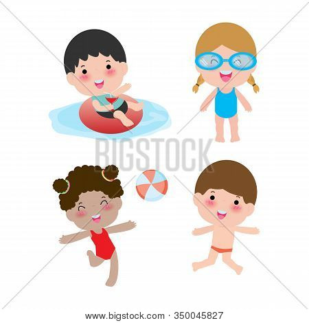 Set Of Children In A Swimming Pool, Children For Summer Season. Kids Playing On The Beach And Swimmi