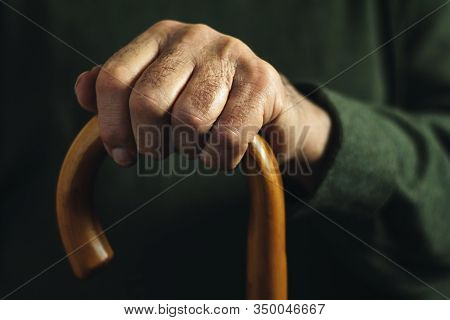 Hand Of An Old Man Holding A Walking Stick
