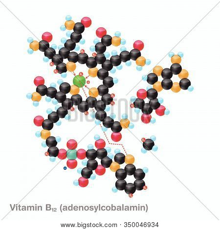 The Molecule Of Vitamin B12 (adenosylcobalamin). Vector Illustration In 3d Style, Isolated On White