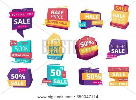 Half Price Emblem. Mega Sale Promotional Advertizing Badges Special Offers Event Tags Vector Set. Di
