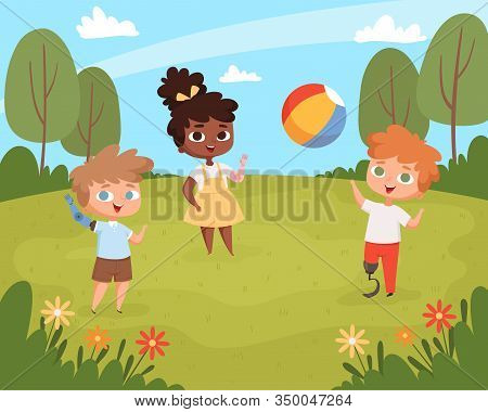 Disability Kids Playing. Unhealthy Handicapped Children Walking Outdoor Wheelchair Vector Background
