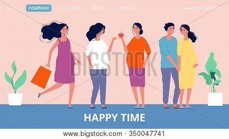 Maternity Landing Page. Happy Pregnant Women. Girls Expecting Children, Family And Parenthood Vector