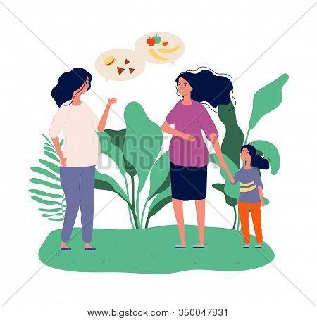 Pregnant Women. Girls Talk About Food. Green Diet, Fresh Fruits Vegetables. Motherhood, Expectation