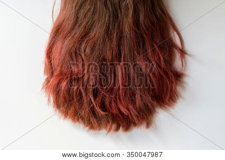 Red Long Hair On A White Background. Red Dyed Hair.