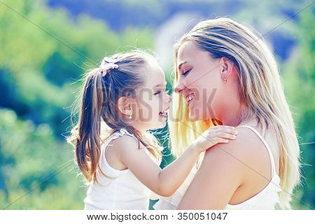 Child Love. Happy Family And Lovely Mom And Daughter Spend Time Together - Mothers Day. Mothers Day.