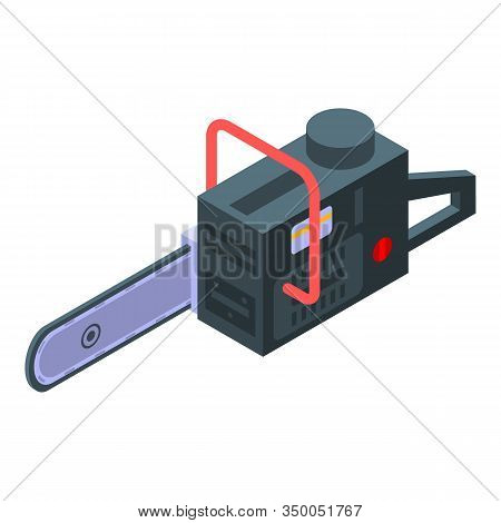 Petrol Chainsaw Icon. Isometric Of Petrol Chainsaw Vector Icon For Web Design Isolated On White Back