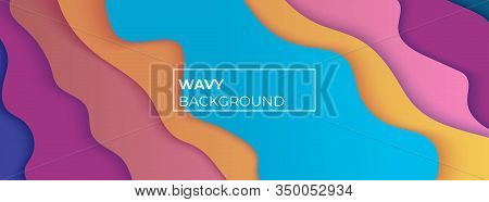 Multicolored Wavy Background With Overlapping Layers. The Effect Of Cut Paper. Abstract Backdrop For