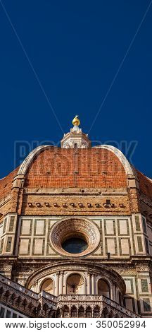 Beautiful Dome Of Saint Mary Of The Flower In Florence Seen From Below, Built By Italian Architect B