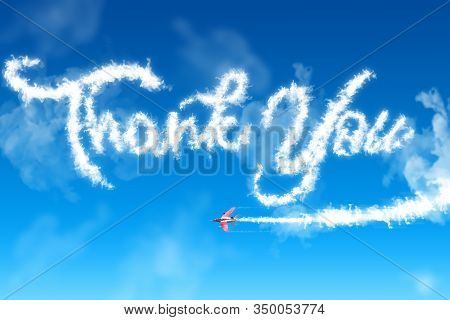 Word Thank You Formed By A Smoke Trail From A Jet Plane.