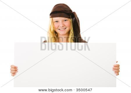 Pretty Pirate Holding Sign