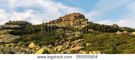 Rocky Violik Hill In Krkonose Mountains On Czech-polish Border During Summer Evening