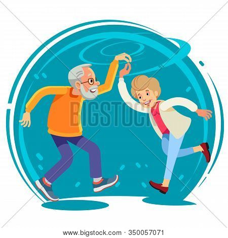 Senior Couple Dancing Together, Flat Style Vector Illustration. Happy Funny Old Couple, Full Height