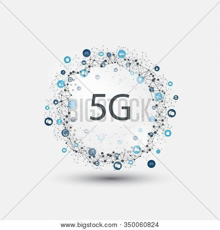 5g Network Label With Wireframe Ring And Icons - High Speed, Broadband Mobile Telecommunication And
