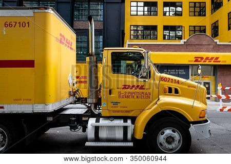 New York, Usa - June 6, 2019: Dhl Delivery Truck Parked In Manhattan At Dhl Warehouse, New York City