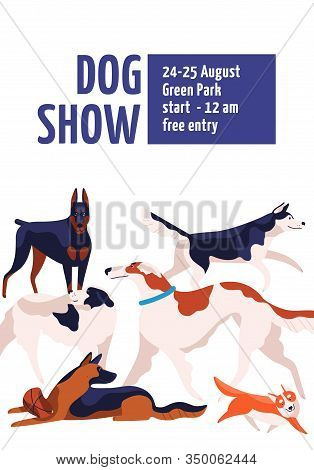 Different Dog Breeds At Conformation Show Placard Template Vector Flat Illustration. Various Cartoon