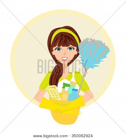 Beautiful Smiling Maid, Cleaning Company Icon , Vector Illustration