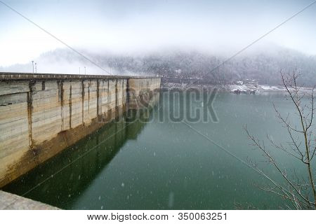 Winter Snowy Day At The Mount Izvorul Dam, Bicaz Lake, Piatra Neant, Romania