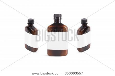 Blank Amber Plastic Bottle With White Label Mockup, Front And Side View. Empty Brown Vial With Natur