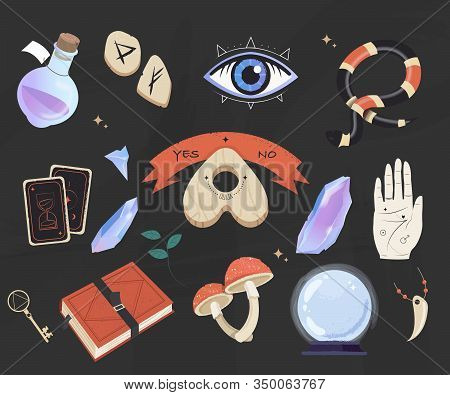Mystic, Esoteric And Occult Set - Planchette, Book, Palmistry Hand, Crystal Ball, Bottle Potion And