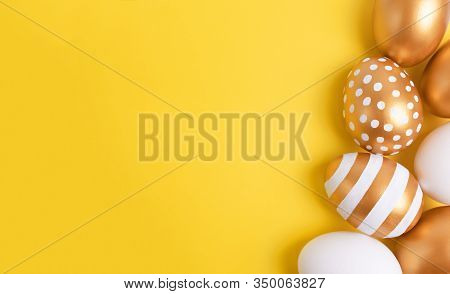 Minimal Easter Concept. Golden Easter Eggs Frame Border On Yellow Background. Easter Card With Copy