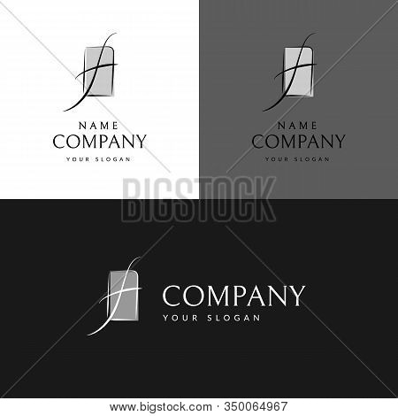 Brand Logo Curved Wavy Line In The Shape Of The Letter F Trademark Logo In The Frame For Business Ca