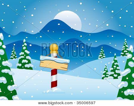 North Pole Winter Scene With Snow